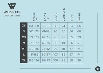 Wildsuit Guide des Tailles