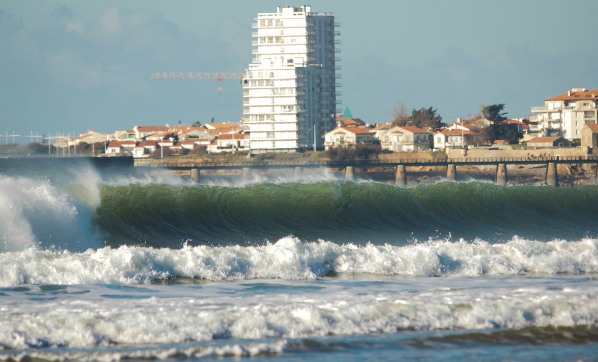 Surfing in the bay of Les Sables d'Olonnes