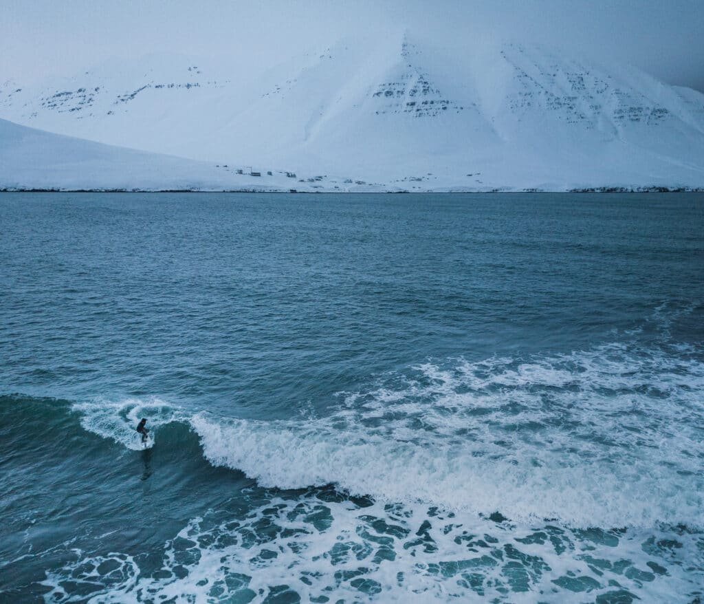 Surfing alone in Iceland